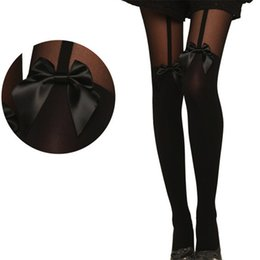 Wholesale Garter Suspenders Socks - Wholesale-2016 Women Vintage Black Tights bowknot Garter Pantyhose Tattoo Mock Bow Suspender Sheer Sexy Stocking for female girl clothes