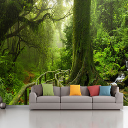 woods country decor Promo Codes - custom photo wallpaper murals Green tree landscape tropical rainforest background wall living room sofa bedroom decor 3d Green Tree Forest w
