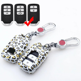 Wholesale Honda Fit Carbon - Leopard Carbon Fiber Car Key Cover For Honda Crosstour ODYSSEY CITY FIT ACCORD CRV VEZEL