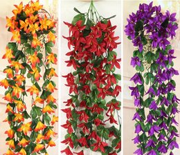 Wholesale Wholesale Decorative Baskets - 2pcs Hanging Artificial Lily Flower Wall Ivy Garland Vine Greenery For Wedding Home Office Bar Decorative