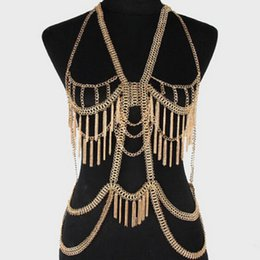 Wholesale Chain Necklace Women Punk Style - Summer Style Sexy Punk Multilayer Tone Long Tassel Body Feminino Chains Necklace Fashion Bikini Harness Beach Jewelry Women Free Shipping