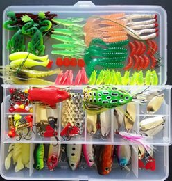 Wholesale Soft Plastic Bass Fishing - 132pcs Fishing Lure Set Including Plastic Soft Frog Spoon Hard Lures Popper Crank Rattlin Trout Bass Salmon And More out16