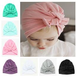 Mode baby hüte kinder mädchen bunny ohr hut turban bowknot kopf wickelt hüte 9 farben säuglings baumwolle hüte kinder winter beanie kinder headwear von Fabrikanten