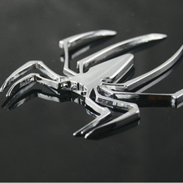 Wholesale Spider Body - Car Styling Accessories 3D Metal Sticker Chrome Spider Shape Emblem Logo Motorcycle Decal For VW Audi Jeep Opel Skoda Benz Ford