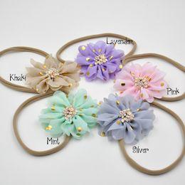 Wholesale Nylon Headbands Flower - 3inch Scalloped Chiffon Flower with Gold Polka Dots Nylon Headband Baby Girl Hair Accessory Infant Hair Band