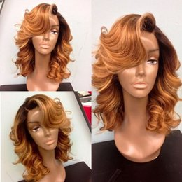 Wholesale Two Tone Blonde Short Wigs - Top quality ombre color body wavy short synthetic lace front wig two tone color black blonde ombre synthetic lace front wig