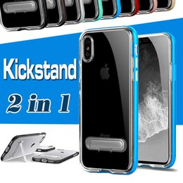 Wholesale Protective Plastic Bumper - Hybrid 2 in 1 Case Transparent Clear TPU PC Bumper Protective with Stand Holder Frame Cover For iPhone X 8 7 Plus 6 6S Samsung S8 S7 Edge