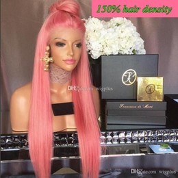Wholesale Wig Dark Pink Long - Brazilian Hair Full Lace Wigs Human Hair Lace Wigs for Black Women Straight Weaves Lace Front Wigs Medium Cap pink hair color