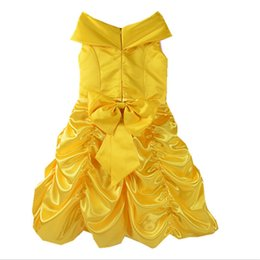 Wholesale Princess Fairy Dresses - Beauty and the Beast Inspired Costume Dress Kids Party Dress Beauty Princess Cosplay Yellow Color 5 p l