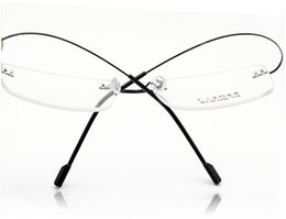 Wholesale Titanium Rimless Glasses Wholesale - Wholesale- Retail 9 colors fashion rimless glasses frames fashion memory titanium eyeglasses frames prescription optical frames