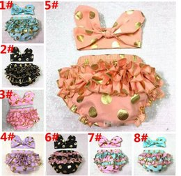 Wholesale Toddler Girl Underwear Shorts - Girls Bloomers Headbands Set Baby Gold Polka Dot Hairband Ruffled Shorts Infant Boutique Diaper Covers Toddler Cotton Pants Underwear A 080