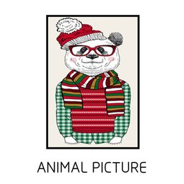Wholesale Picture Christmas Decorations - On the unframed oil painting, cartoon Christmas cathead bear, is the modern home decoration wall art drawing the living room.Add it to your