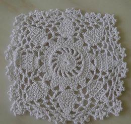 Wholesale Crochet Hot Pads - Wholesale- 17CM HOT DIY Crocheted table mat trivet pad felt placemat cotton mug cup doilies coaster warmer wedding christmas dining kitchen