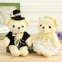 Wholesale Bride Groom Dolls Plush - Kawaii 1Pair Wedding Gift Bride & Groom Bear Bouquet Doll Toy Plush Stuffed Soft Doll Toy Valentine's Day Gifts