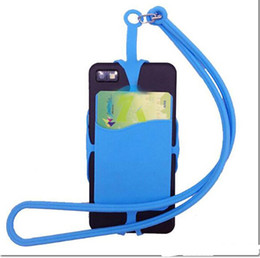 Wholesale Custom Neck Lanyards - custom LOGO New Silicone Neck Lanyard Case Cover Holder Sling Credit Card Holder For Mobile Phone