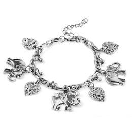 Wholesale Ancient Heart - Retro Elephant Heart Charm Bracelet Ancient Silver Women Bracelets chain Bangle cuff Fashion Jewelry Gift 161930