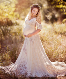 Wholesale Shooting Training - Chic Lace Maternity Dresses For Photo Shoot With Short Sleeves Split Front Pregnant Gown Court Train Custom Made Maxi Dress