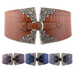 Wholesale Ladies Wide Leather Belts - Wholesale- 1 PC Fashion Lady Women Elastic Waistband Wide Waist Belt Retro Metal Buckle Leather Christmas Gifts