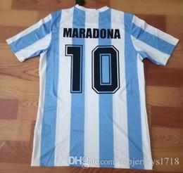 2019 retrocesos de camisetas de fútbol 86 top thailand quanltiy Argentina Retro Soccer Jersey Maradona 1986 Vintage Throwback Camisetas de fútbol clásicas retrocesos de camisetas de fútbol baratos