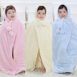 Wholesale Full Cotton Blanket - Hooyi Baby Coats Girl's Smocks Outerwear Velvet Fleece Cloak Mantle Children Poncho Cape Boys Outerwear Newborn Blanket Bathrobe Coat Outfit
