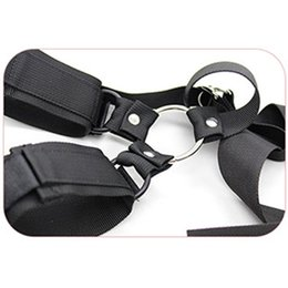 Wholesale Leather Bound Handcuffs - 1 set of straps PU leather Sex toys tied bondage Handcuffs Stick Tied Bound Constraint For Couple Erotic Positioning Bandage