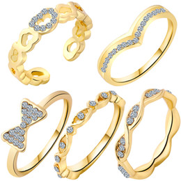 Wholesale Free Stone Peach - 2017 hot new high-quality peach heart bow suit ring, five sets of crystal ring wholesale free shipping