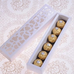 Wholesale Packing Box Pastry - 20pcs pack: 26x6x4cm White cardboard hollow out candy snack boxes Gift box DIY Pastry boxes Chocolate macaron gift box