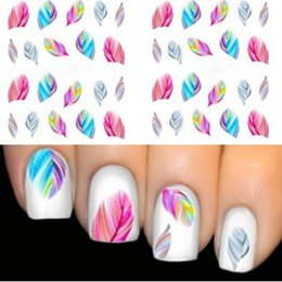 Wholesale Rainbow French - Wholesale-1pcs FEATHER Nail Art Water Transfer Decal Sticker Rainbow Dreams Bright Color Stickers For Nails Stickers For French Manicure