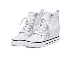 Wholesale Medium Air Wedge - 2017 High help shoes girlhood star white gauze same air wedge increased within 8 cm net cloth shoes