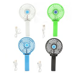 Wholesale Usb Rotary - New USB Rechargeable Handheld Mini Fan Lithium Battery Portable Folding Cooling Fan Foldable Hand USB Mini Fan