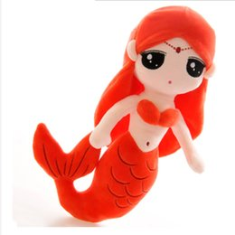 Wholesale Princess Throw - 1Pcs lot Cute Mermaid Princess Dolls Plush Toys Can Do Wedding Ornaments Throwing Things Or Do Girls Dolls Pillow Doll Gift 037