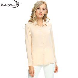 Wholesale Women Wear For Office Blouse - Moda Jihan Women's Chiffon Long Sleeve Button Down Casual Shirt Blouse Top Women Blouse For Office Wear Female Clothes Plus Size