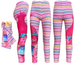 Wholesale Cheap Printed Leggings - 2017 New Cheap Lovely Girls Autumn Pink TROLLS Tights Pants Cartoon Kids Slim Trousers Children Elastic Waist printing Leggings