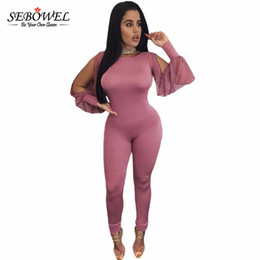 Wholesale Womens Sheer Pants - Wholesale- SEBOWEL Jumpsuit Long Pants 2016 Autumn Pink Sheer Split Long Sleeve Open Back Rompers Womens Bodysuit Overalls Mono LC64141