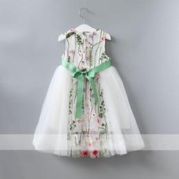 Wholesale Turtleneck Dress Wholesale - Girls Dress Kids Clothing Embroidery Lace Dress Fashion Sleeveless Princess Dress 2017 Summer Toddler Clothes Child Clothing A431