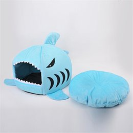 Wholesale Blue Dog Beds - Brushed Fabric and Oxford Novelty Shark Mouse Shape Soft Doghouse Pet Sleeping Bed Small Dog Removable Cushion