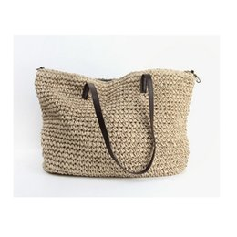 Wholesale Woven Handbags Summer - Wholesale-Summer Women Durable Weave Straw Beach Bag Feminine Linen Woven Bucket Bag Grass Casual Tote Handbags Knitting Rattan Bags Hobos