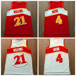 Wholesale Basketball Jersey Material - Men's Throwback 21 Dominique Wilkins Jersey 4 Spud Webb Basketball Jerseys Retro Shirts Uniforms Rev 30 New Material Team Red White