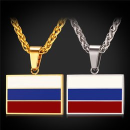 Wholesale Flag Link - U7 New Hot Fashion Russian National Flag Pendant Necklace Jewelry Stainless Steel Gold Plated Patriot Necklace for Men Women Gifts GP2443
