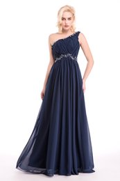 Wholesale One Shoulder Mothers Dress - Mother Of The Bride Dresses Cheap One Shoulder Pleated Chiffon Navy Blue Wedding Party Guest Dress Women Formal Dresses Evening Wear 2017