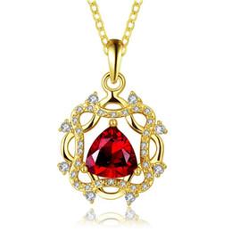 Nuevo collar de mujer de oro 18k mosaico de la joyería colgante WGN889, A ++ Oro amarillo de la piedra preciosa roja Collares con cadenas desde fabricantes