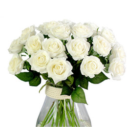 Wholesale Latex Flowers Roses - 2017 Hight quality 10 Head Decor Rose Artificial Flowers Silk Flowers Floral Latex Real Touch Rose Wedding Bouquet Home Party Design Flowers