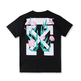 Wholesale Long Sleeve T Shirt Wool - 2017ss new hip hop fashion suprem summer Tees OFF WHITE OW arrows and tulips prints cotton wool men's short sleeves T-shirt