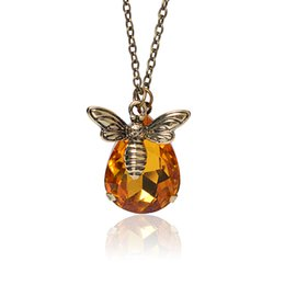 Wholesale Bee Link - Wholesale-New Fashion Jewelry Honey Bee Suspension For Women Crystal Necklaces & Pendants collier Jewelry Gift Wholesale
