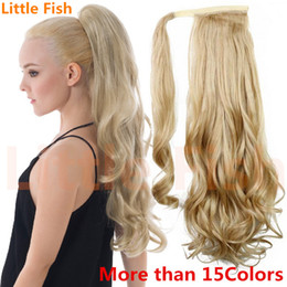 Wholesale Synthetic Hair Extentions - Wholesale- Womens hair pieces and ponytails synthetic long wavy pony tails hair extentions 22inch 120g heat resistant fiber free shipping