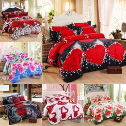 Wholesale Queen Size Rose Print Bedding - 3D Rose Heart Bedding Set 4PC Duvet Cover Set Quilt Cover Flat Sheet Pillowcase Wedding Valentine Gift Full Queen King Size