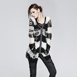 Wholesale Skull Knit Cardigan - Wholesale-Punk Sexy Gothic Knit Sweater Designs Skull Print Female Cardigan Outwear Coat