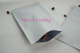 Bustine di caffè online-7 * 10cm, sacchetto di alluminio bianco del foglio di alluminio 200pcs-sacchetto superiore di sigillo aperto di calore / sacchetto di plastica semplice del riso, sacco di fagiolo del caffè del mylar metallico