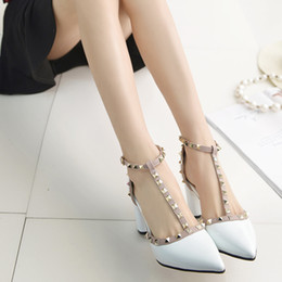 Wholesale Types Heels Sandals - Europe and the United States fashion women's shoes shallow mouth sandals rivets pointed buckle T-type women with popular women's shoes