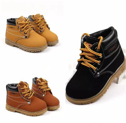 Wholesale Infant Boots For Boys - Kids warm martin boots 3 colors spring autumn winter infants lace-up shoes for boys girls 1-5T A08